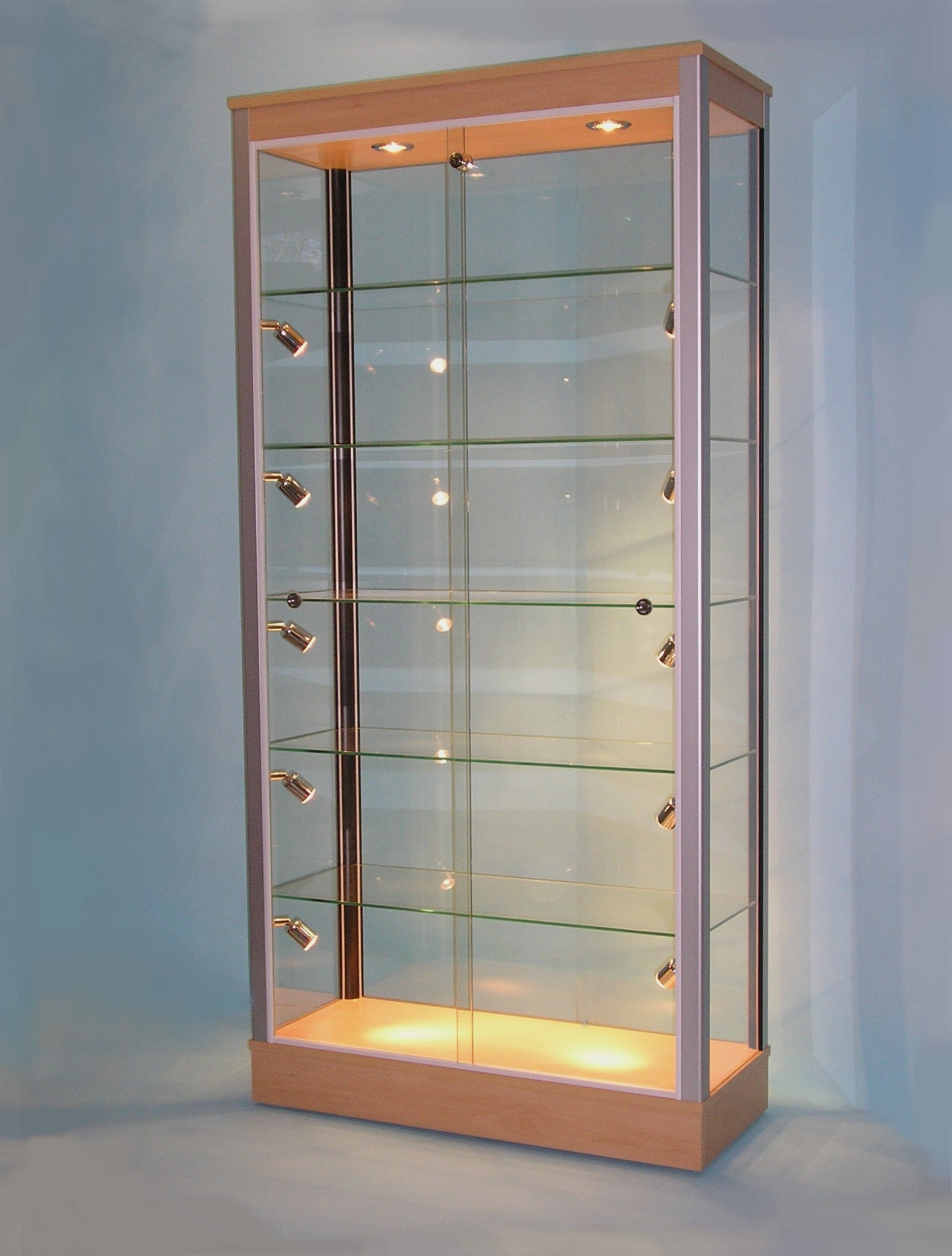 Designex Cabinets D11 beech corner lights glass display cabinet