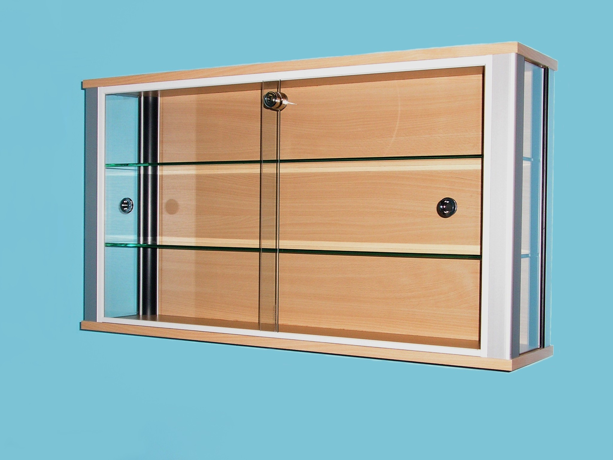 Designex Cabinets D30 beech glass display cabinet