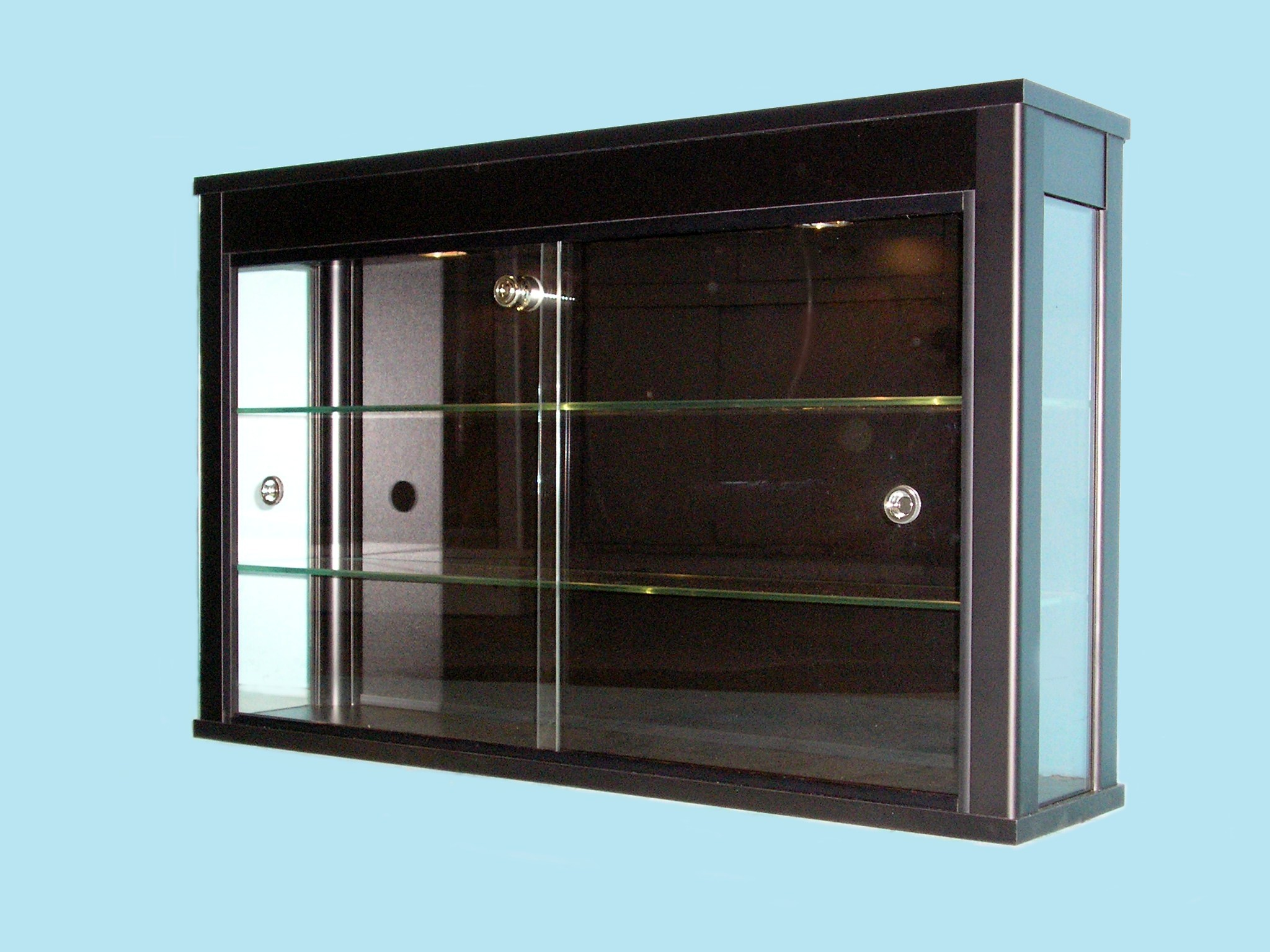 Designex Cabinets D31 black wall mounted glass display cabinet