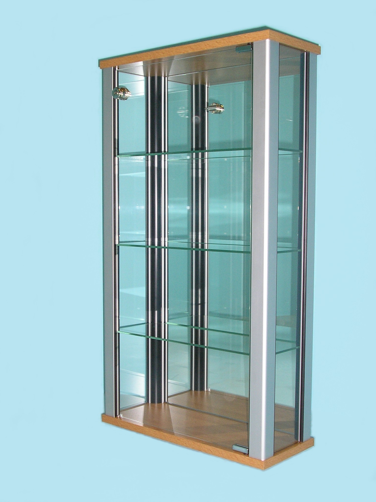 Designex Cabinets D32 oak glass display cabinet