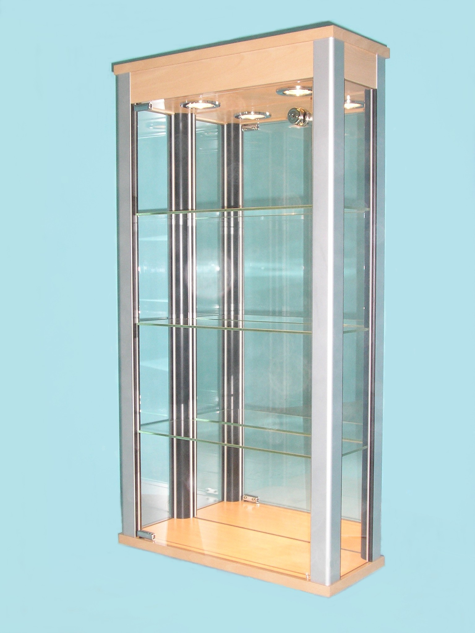 Designex Cabinets D33 beech glass display cabinets