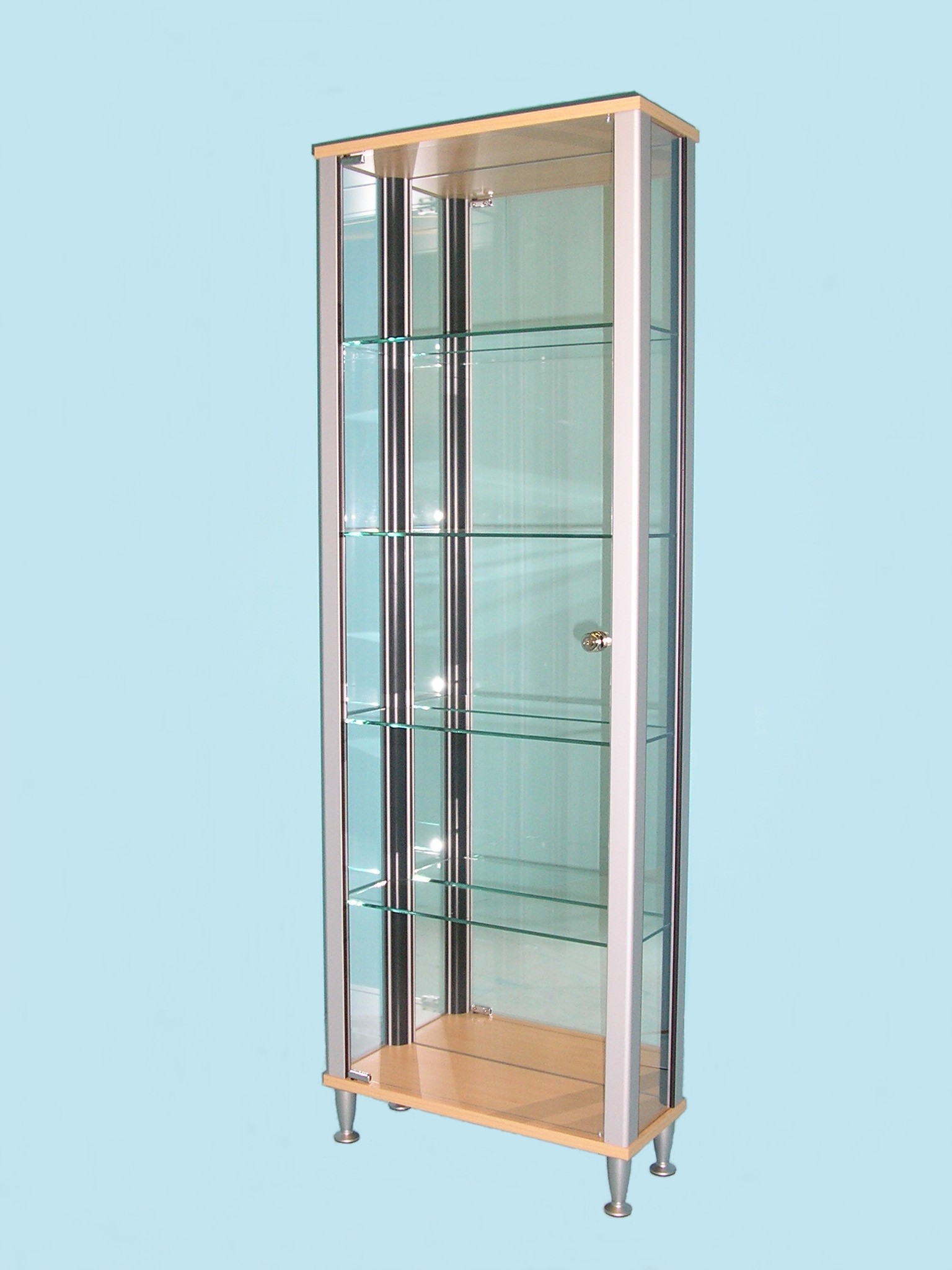 Designex Cabinets D61 Beech tower glass display cabinet