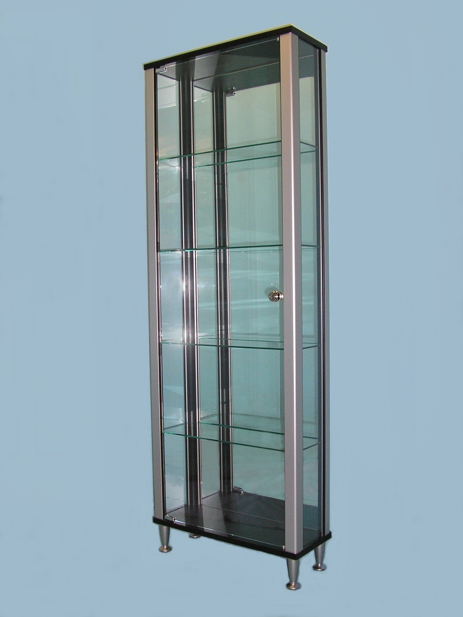 Designex Cabinets D61 black tower glass display cabinet
