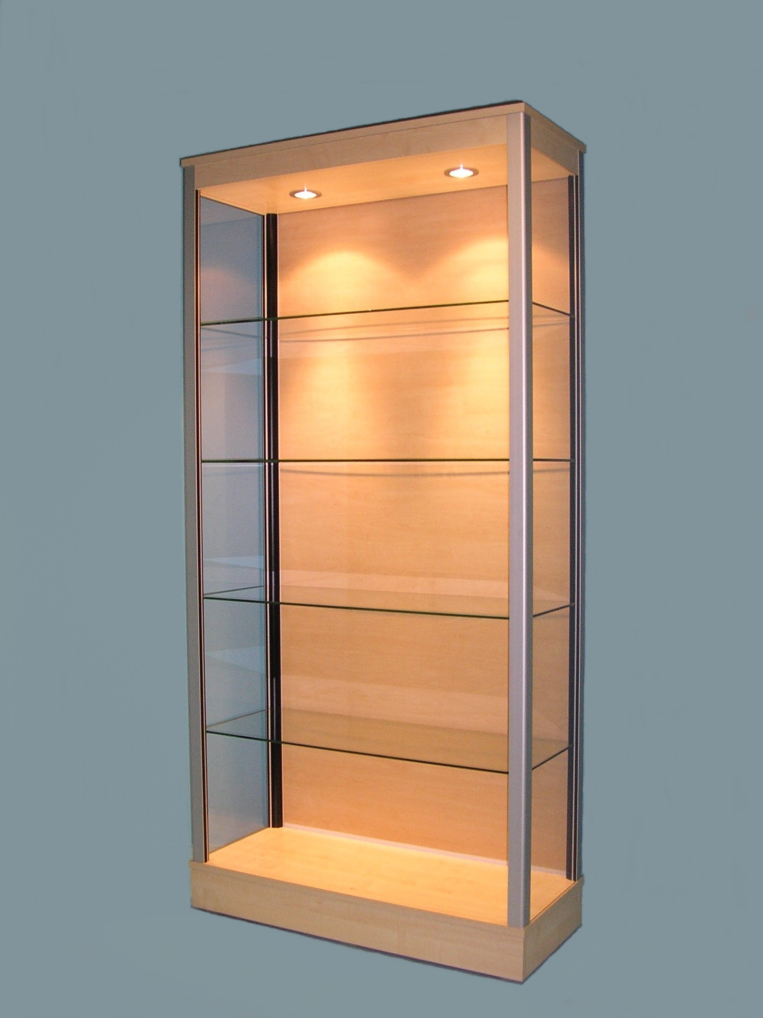 Designex Cabinets maple D15 glass display cabinet