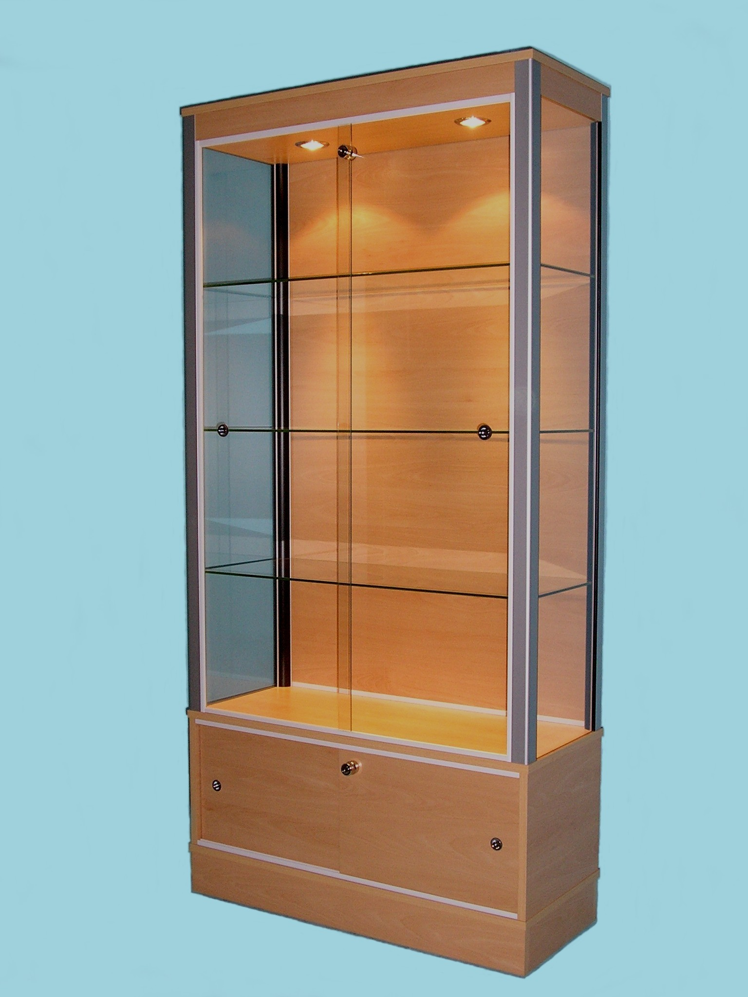 Designex Cabinets beech D51 glass display cabinet