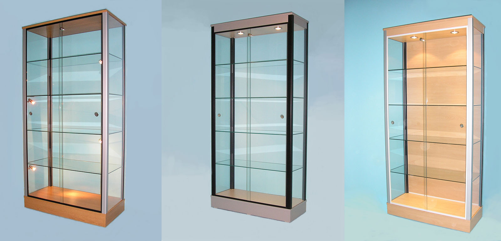 Designex Cabinets large glass display cabinets
