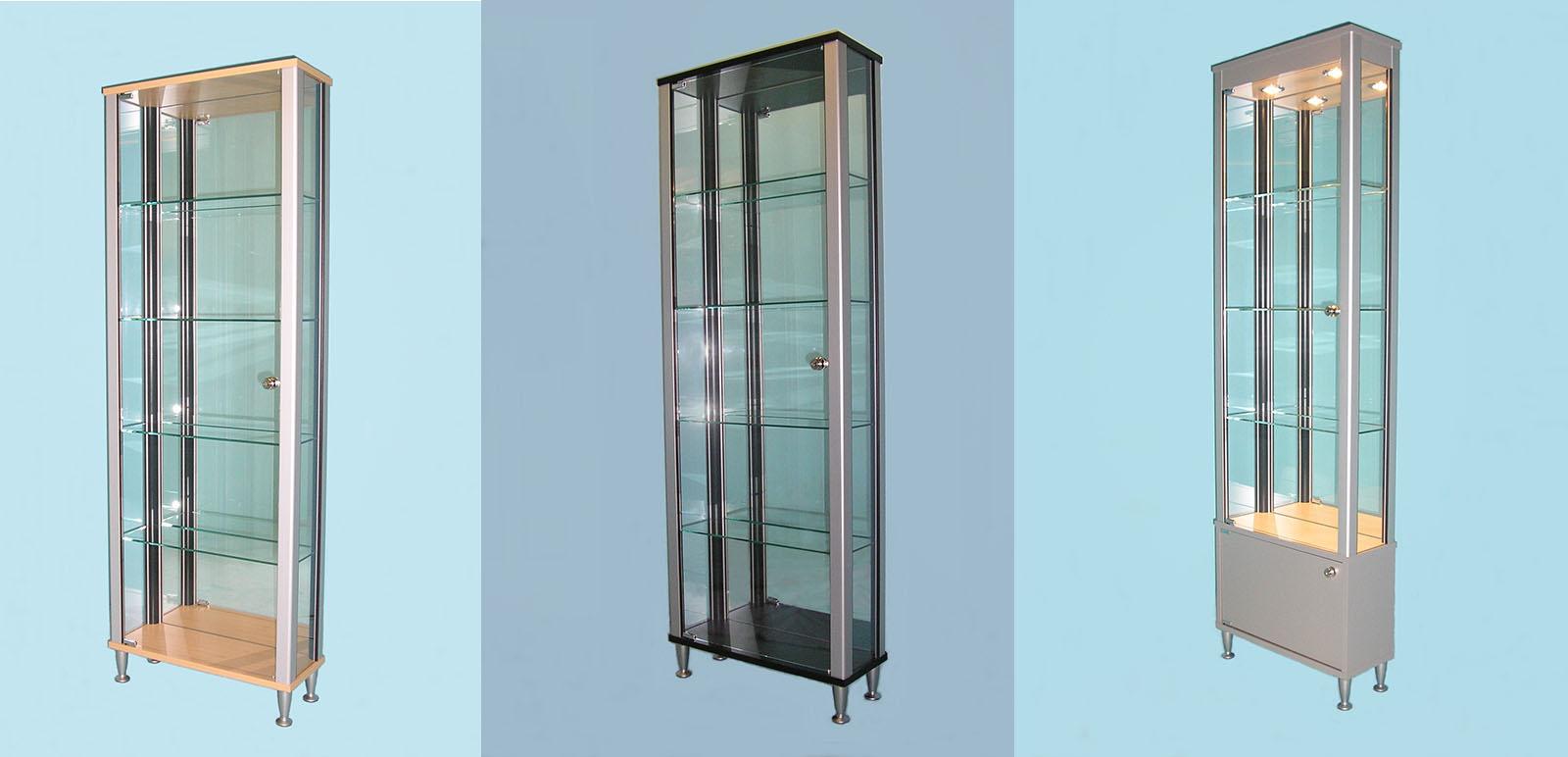 Designex Cabinets slimline glass display cabinets