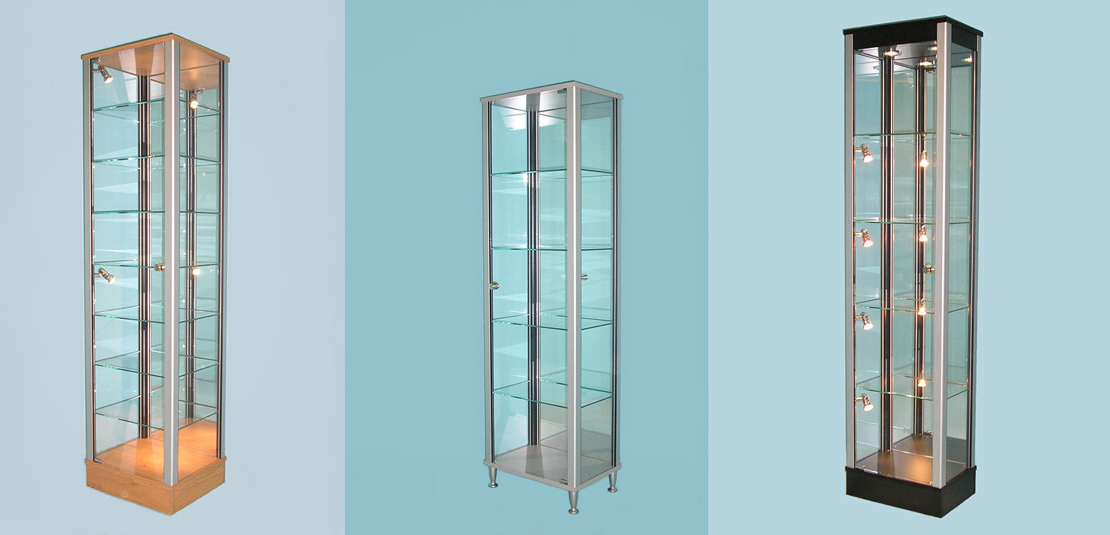 Designex Cabinets tower glass display cabinets